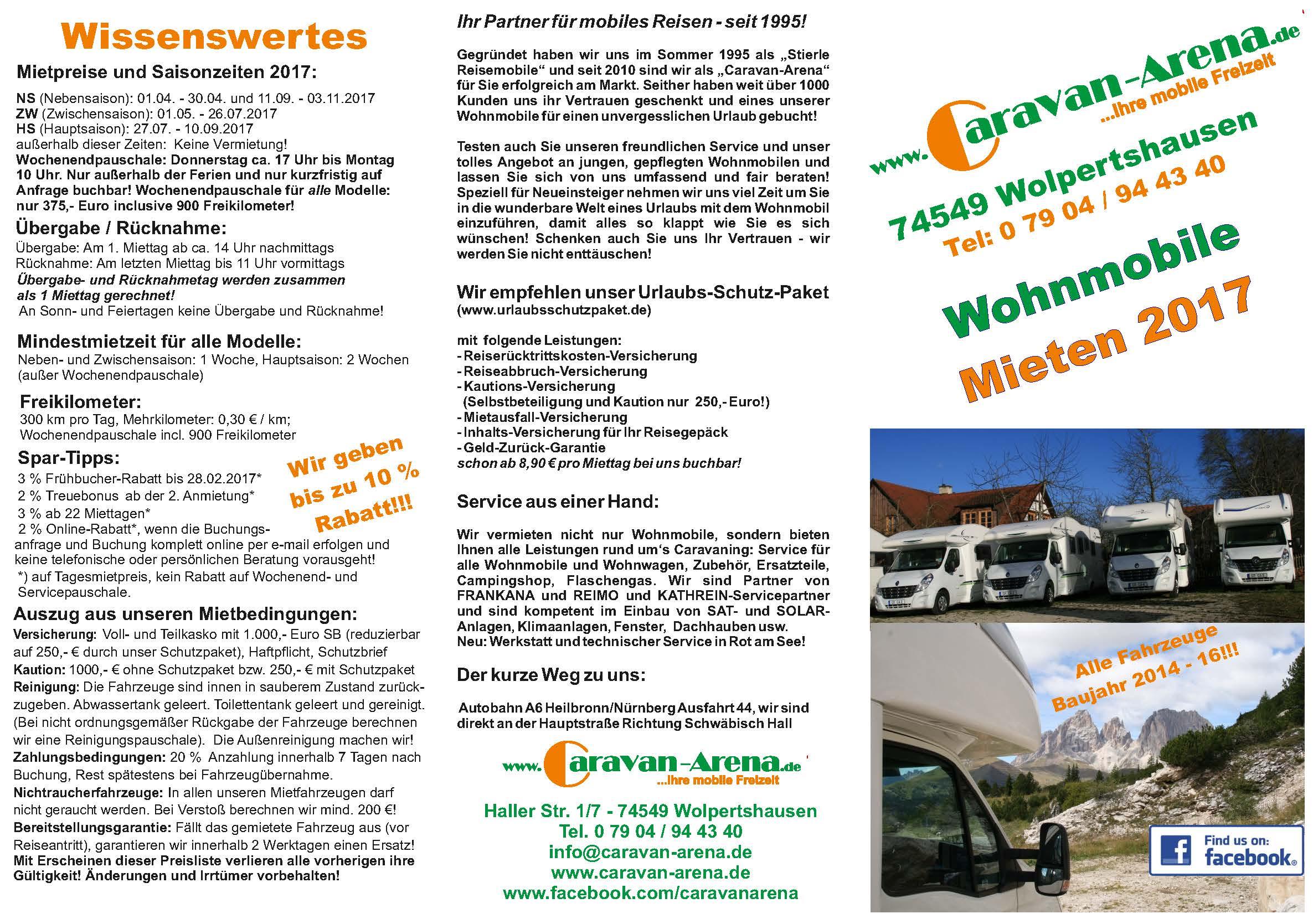 Caravan-Arena Mietflyer 2017